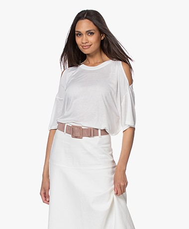 IRO Yamba Open-shoulder T-shirt - White