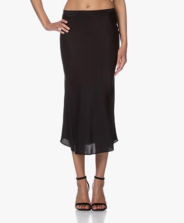 Repeat Silk Bias-cut Midi Skirt - Black