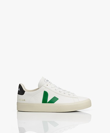 VEJA Campo Low Logo Leren Sneakers - Extra Wit/Groen/Zwart