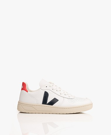 VEJA V-10 Leather Sneakers - Extra White/Nautico/Pekin