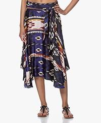forte_forte Silk Printed Wrap Skirt - Lapislazzuli