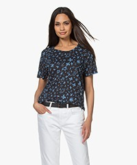 Zadig & Voltaire Aria Printed Linen T-shirt - Dark Blue
