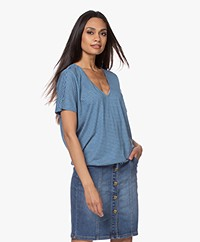 by-bar Donna Striped Drawstring T-shirt - Blue/Grey