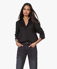 Repeat Katoenmix Stretch-poplin Overhemd - Zwart