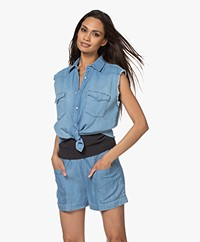 ba&sh Drop Mouwloze Katoenen Blouse - Blue Jeans
