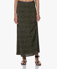 SIYU Celosia Tech Jersey Maxi Print Skirt - Dark Green/Black