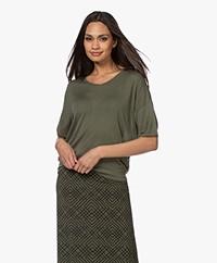 Sibin/Linnebjerg Cora Gebreid Viscose T-shirt - Army Green