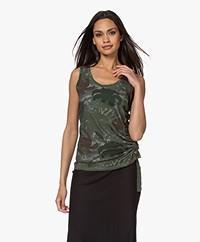 Majestic Filatures Cindy Bruna Tank Top with Gathered Design - Vert Trellis