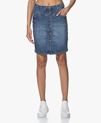 MKT Studio Jenna Denim Rok met Doorknoopsluiting - Blue Terence