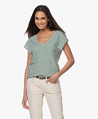 by-bar Mila Striped Linen Blend T-shirt - Agave