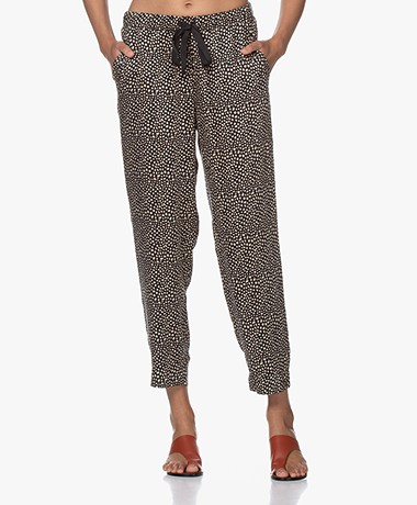 Plein Publique Lavande Viscose Dots Printed Pants - Black/Beige