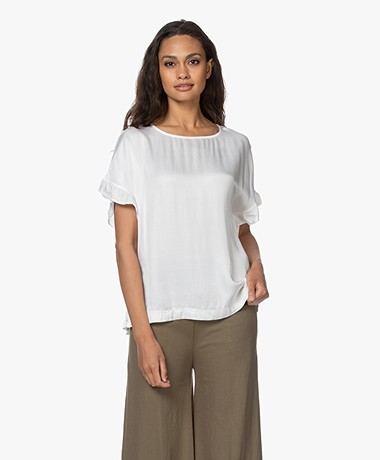no man's land Satin Ruffle Blouse - Ivory