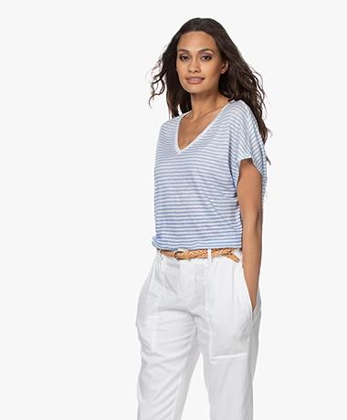 Majestic Filatures Striped Linen V-neck T-shirt - Vista Blue/White