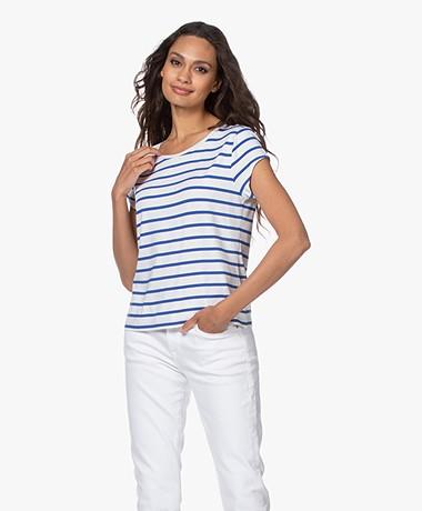 no man's land Gestreept Viscose T-shirt - Wit/Royal Blue