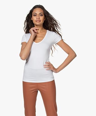 Majestic Filatures Soft Touch V-Hals T-Shirt - Wit