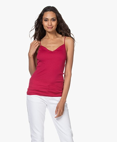 HANRO Cotton Seamless V-hals Spaghetti Top - Barberry