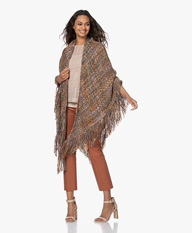 Manos del Uruguay Cadaquez Triangle Scarf - Brown/Blue/Pink