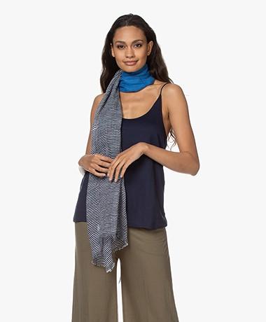 LaSalle Printed Linen Blend Scarf - Blue