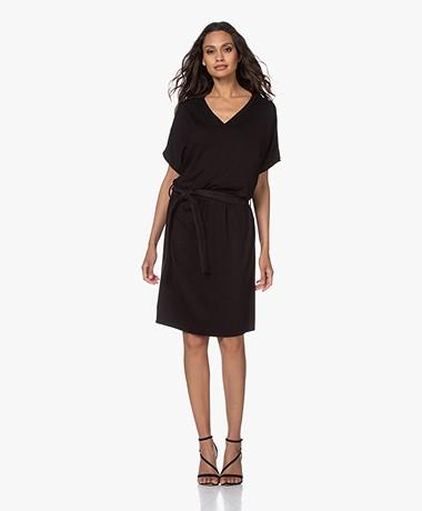 studio .ruig Jep Jersey Dress with Leather Belt - Black