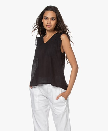 indi & cold Voile A-line Top with Ruffles - Black