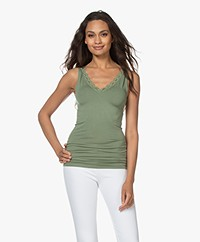 by-bar Double V-neck Top with Lace - Olive