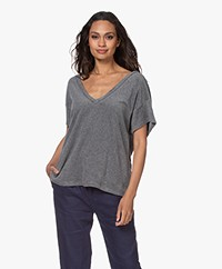 Majestic Filatures Oversized French Terry T-shirt - Grijs Mêlee