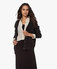 Filippa K Silk Mix V-Neck Cardigan - Black