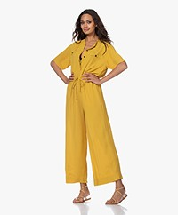 Pomandère Crepe Short Sleeve Jumpsuit - Mustard Yellow