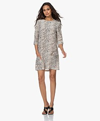 Equipment Aubrey Silk Mini Dress with Snake Print - Off-white