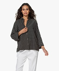 studio .ruig Obo Oversized Striped Blouse - Black/White