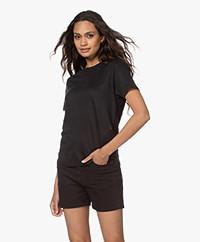 Denham Camellia Puur Linnen T-shirt - Zwart