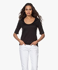 Filippa K Tencel Scoop Neck Tee - Zwart