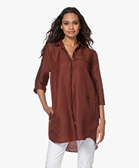 studio .ruig Oos Long Linen Blend Blouse - Cinnamon