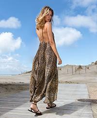 Ragdoll LA Leopard Print A-line Strap Dress - Brown Leopard