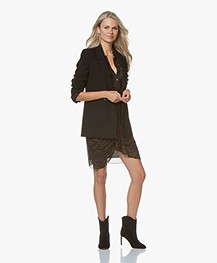 Anine Bing Madeleine Wool Blend Blazer - Black