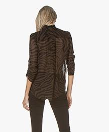 ba&sh Sisco Viscose Chiffon Print Blouse - Natural