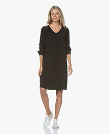 Drykorn Josy Cupro Long Sleeve Dress - Black
