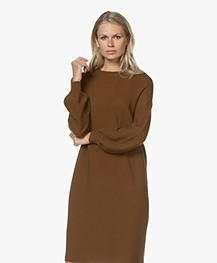 Drykorn Marisal Knitted Puff Sleeve Dress - Brown