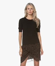Repeat Short Sleeve Cashmere Pullover - Black
