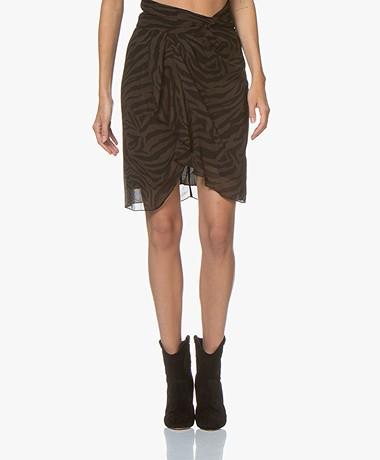 ba&sh Scarlett Viscose Chiffon Print Skirt - Natural