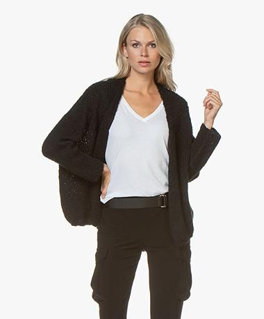 American Vintage Boolder Open Alpacamix Vest - Zwart
