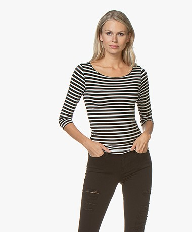 Majestic Filatures Striped T-shirt with Cropped Sleeves - Black/Milk