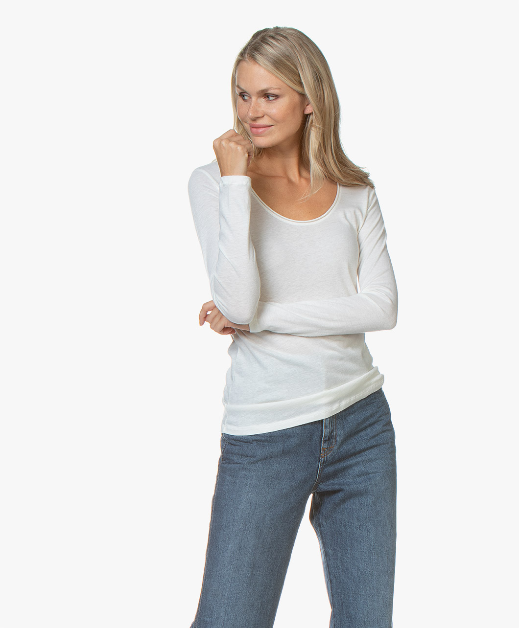 Majestic Filatures Womens Cotton//Cashmere Boxy Long Sleeve Crew Neck