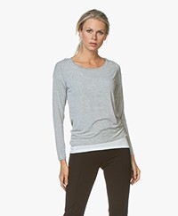 Majestic Filatures Layered T-shirt with Cropped Sleeves - Grey Melange