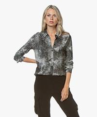 Majestic Filatures Silk Jersey Blouse with Snake Print - Black
