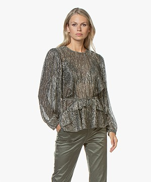 IRO Gavdos Lurex Blouse - Black/Gold/Silver
