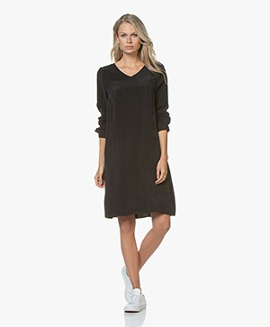 Drykorn Josy Cupro Long Sleeve Dress - Black