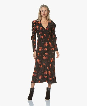 IRO Louve Dress with Floral Print - Black/Red