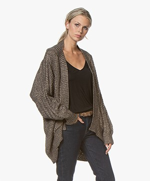 Mes Demoiselles Clarke Oversized Cardigen with Lurex Details - Brown