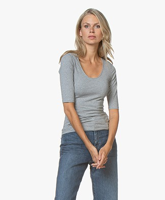 Filippa K Cotton Stretch Scoop Neck T-Shirt - Grijs Mêlee